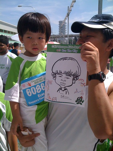 caricature live sketching for Cold Storage Kids Run 2010 - 16