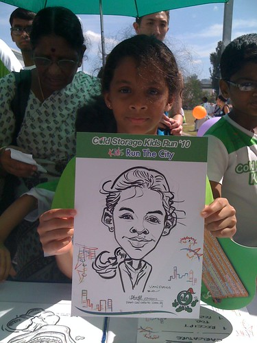 caricature live sketching for Cold Storage Kids Run 2010 - 17