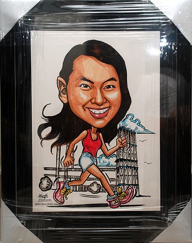 caricature running  with reactors setting in black acrylic frame backing