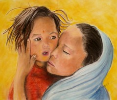 Amour (dassine) Tags: portrait children pastel enfants inde regard