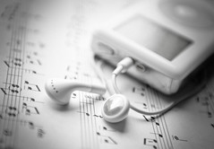 Music - that was then, this is now! (lambertwm) Tags: bw music classic apple composition blackwhite ipod dof notes bokeh mp3 depthoffield staff muziek headphones classical sheetmusic earphones composer compositie notenschrift