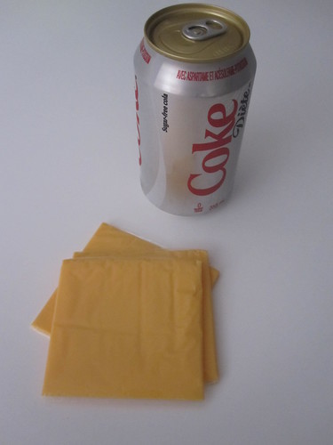 Diet COke, processed cheese slices