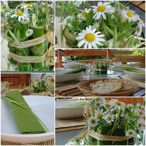tablescape bamboo&daisies
