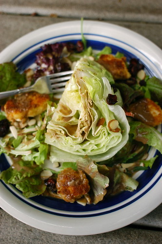 Spike's wedge salad with dried cranberries and fried goat cheese