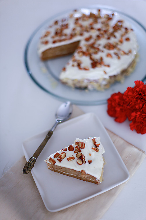 Eggless Almond Cake With Almond Buttercream Icing