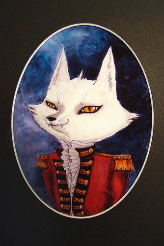 Fox Soldier Print in oval mat