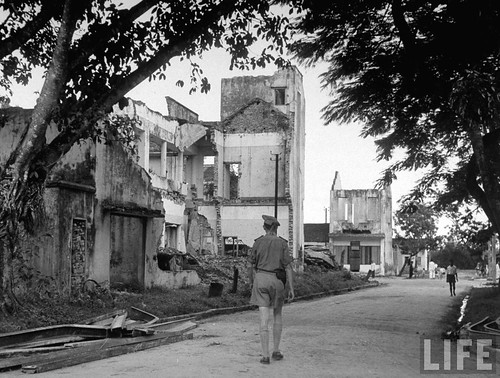 1948 - Town completely demolished during fighting, in French Indo-China.
