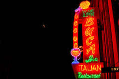 Indy#3931_Copy (Single-Tooth Productions) Tags: city blue red urban green beer yellow facade 35mm restaurant nikon neon glow wine indianapolis indiana americanflag nighttime bucadibeppo signage type neonlights glowing lettering nikkor italianrestaurant typeface nikond200 illinoisst afsdxnikkor35mmf18g
