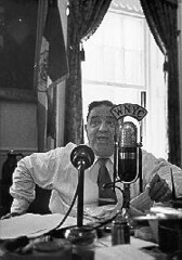 Mayor Fiorello La Guardia broadcasting over WNYC from his City Hall office, June 1945. (La Guardia and Wagner Archives) Tags: laguardia fiorellolaguardia wnyc fiorello thelittleflower mayorlaguardia