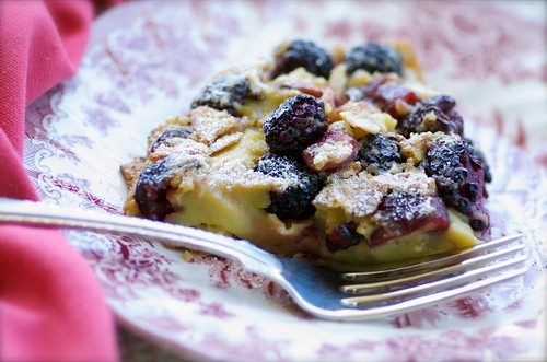 cherry and blackberry clafoutis