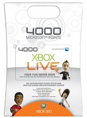 Xbox 360 Live 4000 points card