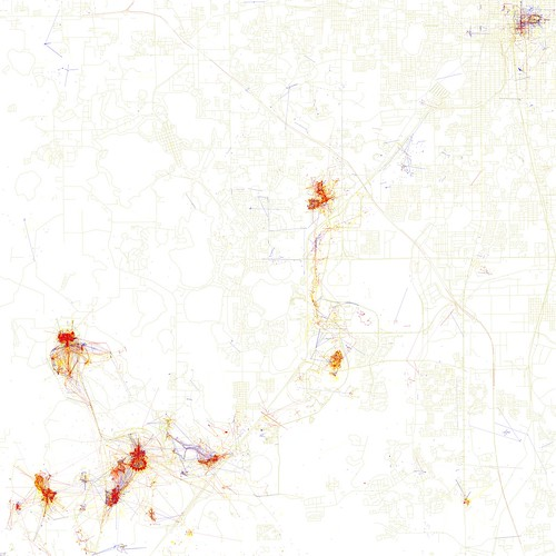 Orlando- Locals Vs. Tourists. Map by Eric Fischer.