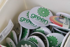 Green Party at Hats Off Day - June 5th, 2010 - Green Party buttons (yumiang) Tags: hastings greenparty carriemclaren ilovegreen burnabyheights hatsoffday greenpartycanada greenpartybc