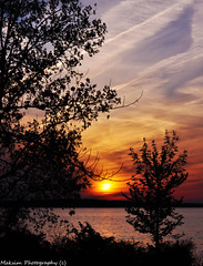 Pyma Sunset (Bill Maksim Photography) Tags: blue trees sunset orange water beautiful clouds sunrise fire pretty pymatuning contrails causeway spillway maksim sihlouettes