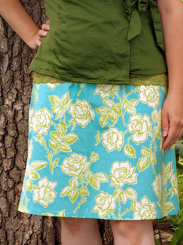 Turquoise Floral A-Line Skirt