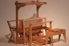 A working Jack-type 4-harness Loom from Maple Leaf Miniatures http://www.mapleleafminiatures.ca/gallery/Loom/4HarnessLoom/