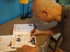 Vahik autographing Andrea's Courage magazine