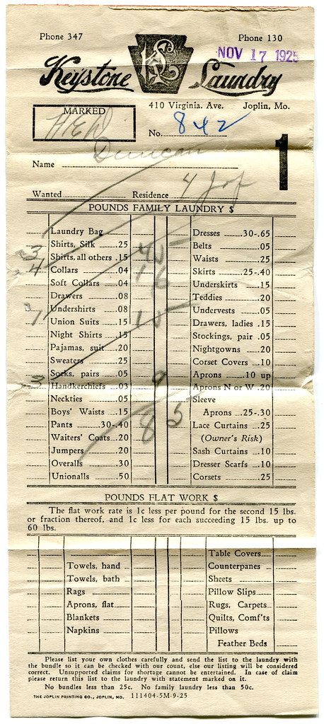 Receipt from the Keystone Laundry, 1925