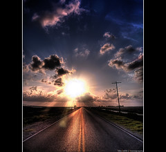 On the Road Again (Feo David) Tags: road blue sunset sky usa sun clouds america soleil louisiana texas unitedstates south houston beam ciel again rays rayon nuages on portarthur etatsunis