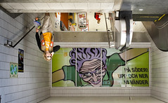We turn the South upside down (Hannes R) Tags: street city people station sign stairs subway town yoda upsidedown metro sweden stockholm sdermalm escalator ad steps entrance advertisement step advert tunnelbana hornstull