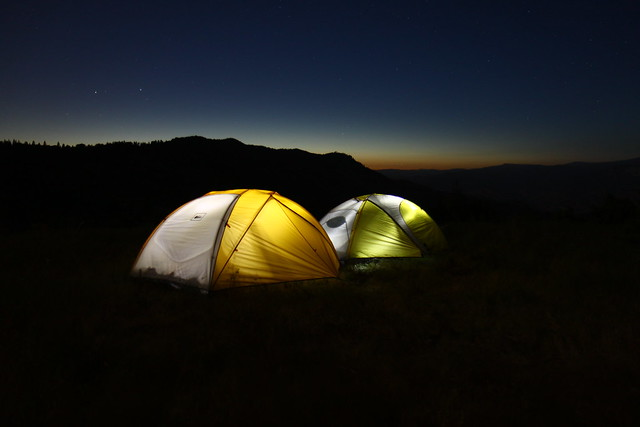 Camping along a ridge at Sequoia National Forest