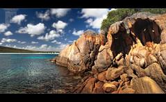 Monster Rocks...! (Chantal Steyn) Tags: ocean sea panorama plants seascape beach water monster rock clouds landscape photography coast nikon australia handheld cave westernaustralia d300 polariser capelegrand nohdr capelegrandnationalpark 1685mm chantalsteyn
