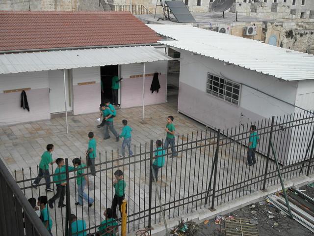 Recess at a school in Muslim Quarter, Old City Jerusalem