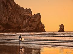 Evening Surf (Bjrn Burton) Tags: california sunset beach rock evening nikon waves surfer cliffs pacificocean surfboard morrobay centralcoast tone d90 bjornburton
