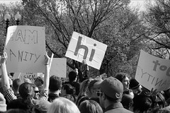 the hi sign (philliefan99) Tags: washingtondc districtofcolumbia nationalmall rallytorestoresanity rallytokeepfearalive comedycentral stephencolbert jonstewart protest demonstration firstamendment crowds people sign blackandwhite bw dcist rallytorestoresanityandorfear sanityandorfear