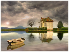 Mirror (Jean-Michel Priaux) Tags: autumn winter sky france art church water clouds photoshop river landscape boat chapel alsace paysage chapelle hdr montain vosges anotherworld abbaye terrific mattepainting littleboat ried unautremonde ebersmunster priaux ebersheim vanagram