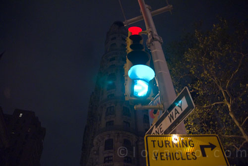 A stoplight in NYC