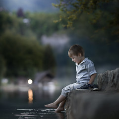 Evening by the lake (fresh) (iwona_podlasinska) Tags: lake evening bokeh child boy iwona podlasinska dark water reflection fresh