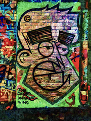Tattooed Eyebrows (Steve Taylor (Photography)) Tags: jobz groe drunks wino face wall colourful smile smiling fun man uk gb england greatbritain unitedkingdom london texture outline tag cartoon head leakestreet