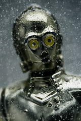 C-3PO Hears Jingle Bells. (Avanaut) Tags: cold ice face closeup toy actionfigure gold star golden miniature starwars wars 60mm droid c3po hasbro hoth theempirestrikesback seethreepio theotherside protocoldroid humancyborgrelations
