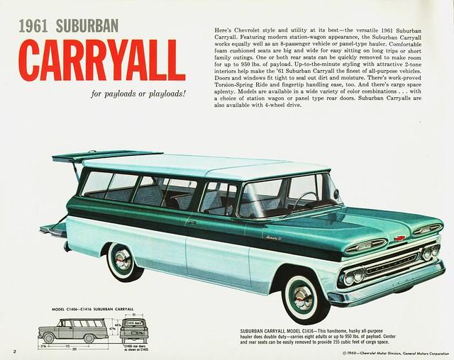 chevrolet suburban brochure 1961 carryall