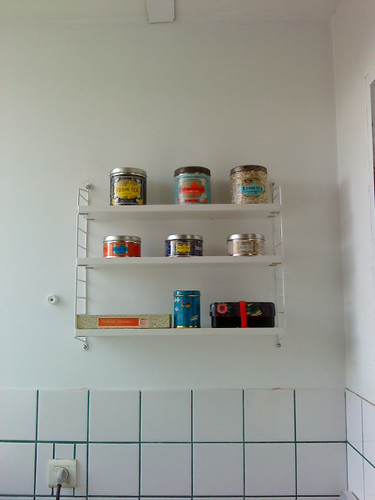 I noticed my brand new String shelf with tea tins on it!