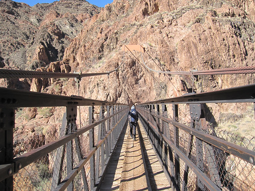 Crossing Kaibab Suspension Bridge