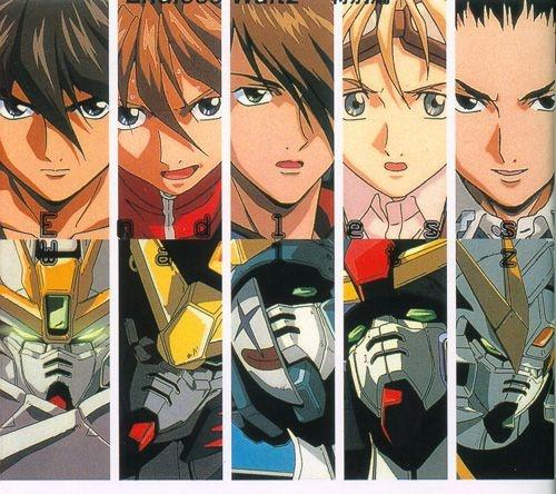 Main characters from the anime Gundam Wing