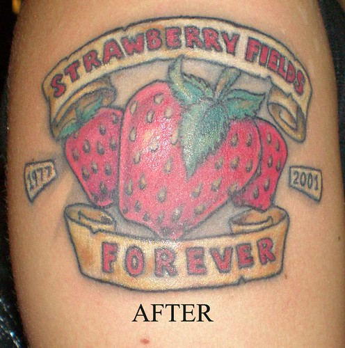 strawberries. strawberry tattoo