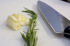knife rosemary garlic