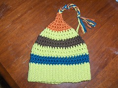 Pixie hat 2 (ruali) Tags: blue orange baby brown green hat handmade crochet pixie yarn etsy ruali