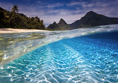 Islands in the Stream by Michael Anderson (AndersonImages) Tags: park beach island underwater pacific south under over palm national american samoa split ofu americansamoa ofuisland