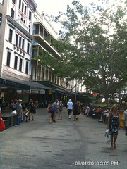 Looking up Queen Street Mall
