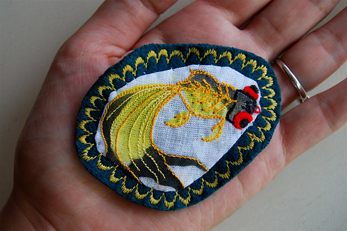 brooch - embroidered goldfish