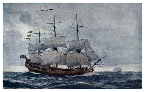 002- Una de las primeras fragatas de la armada Georgiana el HMS Juno en 1750-The Royal Navy (1907)- Norman L. Wilkinson