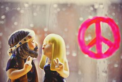 """There is No Way to Peace, Peace is the Way."" (Jade M. Sheldon) Tags: cute love window hippies fun happy blog kiss couple peace bokeh quote precious create sweethearts peacesign invite saltandpeppershakers flickrgroup tinytreasures porcelainfigures shuttersisters onewordproject parallelvision"