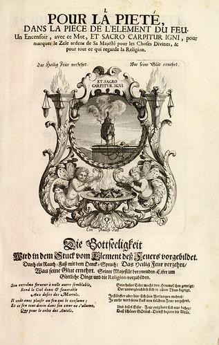002- Divisa del tapiz el fuego para la piedad-Tapisseries du roy, ou sont representez les quatre elemens 1690- Sebastien Le Clerc