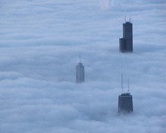 fog blankets chicago (k.pat) Tags: sky chicago tower strange weather fog clouds flying airport skyscrapers sears united low flight jet international level airline hancock trump phenomenon willits kpat