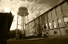 Watertower (loganbertram) Tags: film sepia rural nc student industrial factory fuji ae1 decay north 200iso iso 200 cannon carolina fujifilm unc hillsborough ae1p loganbertramphotography