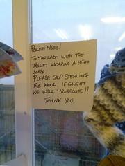 Please stop stealing the wool (Stephen Fulljames) Tags: wool note stealing